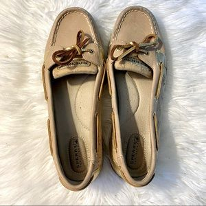 Women's Leather Sperry Angelfish Gold Top-Sider 9